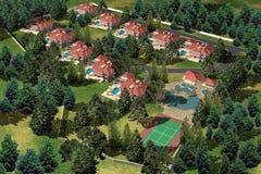 Single house neighborhood Royalty Free Stock Image