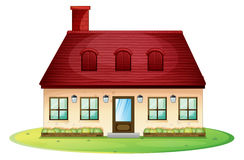 Single house with red roof and chimney. Illustration Royalty Free Stock Photo
