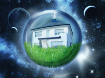 Single house in space Royalty Free Stock Photography