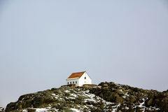 A single house on the top of mountain stock photos