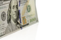 Single Hundred Dollar Bill Standing Up. Stock Image