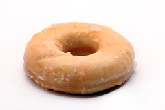 Single iced doughnut. Image of single doughnut on a white background Royalty Free Stock Photography