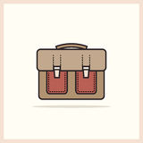 A single icon school bag on a light background Stock Image