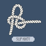 Single illustration of nautical knot. Slip Knot. Sailor knot. Nautical rope sign Royalty Free Stock Images