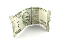 A Single Indian Five Hundred Rupees Note. On a white background Royalty Free Stock Photography