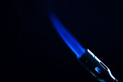 Single intense gas jet flame of industrial gas-burner Stock Photos