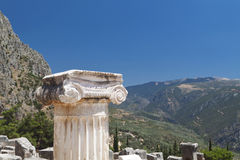 Single ionic order capital at Delphi Stock Image