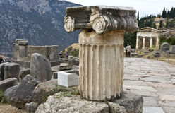 Single ionic order capital at Delphi archaeologica Royalty Free Stock Photography