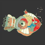 Single isolated abstract art fish. stock  illustration.  Royalty Free Stock Image