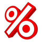 Single Isolated Red Graphic Percent Sign Sale Angled 3D vector illustration
