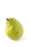 Single isolated spotted green pear. Fruit on a white background Royalty Free Stock Images
