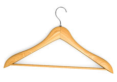 Single isolated wooden hanger 2 Royalty Free Stock Images