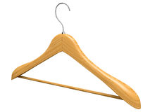 Single isolated wooden hanger 3 Royalty Free Stock Photography