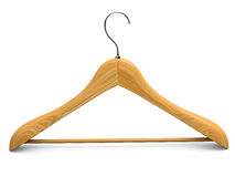 Single isolated wooden hanger 1 Stock Photo