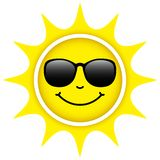 Single Isolated Yellow Sun With Sunglasses Happy Face vector illustration