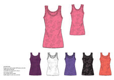 Single jersey light weight AOP female vest with ruffle edge at armhole and neckline Stock Photo