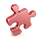 Single jigsaw puzzle piece. 3D Icon isolated. On white background Royalty Free Stock Photos