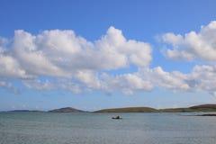 Lone kayaker at sea stock image