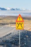 Single-lane bridge - traffic sign in Iceland Royalty Free Stock Photography