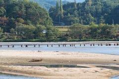 Single lane log bridge over a shallow river Stock Photos
