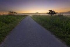 Single lane with misty sunrise Stock Photography