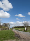 Single lane road. Through English countryside and farmland Royalty Free Stock Photos