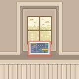 Single Laptop On Windowsill Stock Photos