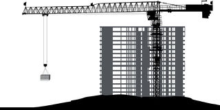 Single large crane and unfinished house Royalty Free Stock Photography