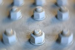 Single Large Nut and Bolt in Focus Royalty Free Stock Photography