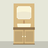 Single Lavatory With Mirror And Cabinet. Vector Illustration Stock Photo