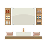 Single Lavatory With Mirrors And Shelves. Vector Illustration Stock Photos