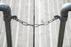 One Chrome Chain. A single lconnection of inks of chrome chain stock images