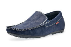 Single leather blue color male moccasins Stock Images