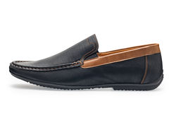 Single leather dark blue color male moccasins Royalty Free Stock Photo
