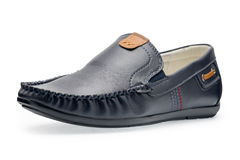 Single leather dark blue color male moccasins Stock Photo