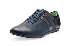 Single leather dark blue color male sport shoes with shoelaces Stock Photos