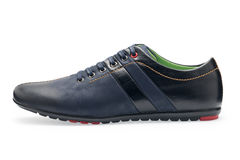 Single leather dark blue color male sport shoes with shoelaces Stock Photography