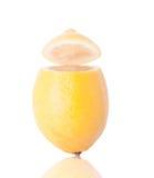 Single Lemon with the Top Cut Stock Photos