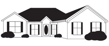 Single Level House Sketch with  Royalty Free Stock Photo
