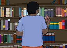 Single Librarian Organizing Shelf. Rear view of librarian organizing book shelf Royalty Free Stock Image