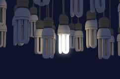 Single Light Bulb Illuminated In Collection. A collection of hanging fluorescent light bulbs with a single one illuminated - 3D render stock illustration
