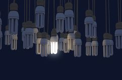 Single Light Bulb Illuminated In Collection. A collection of hanging fluorescent light bulbs with a single one illuminated - 3D render vector illustration