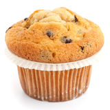 Single light chocolate chip muffin in wax liner on white Stock Photos