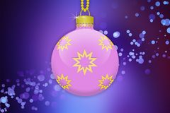 One single light pink hanging christmas tree ball with golden ornaments on a purple gradient background with lens flare. A single light pink hanging christmas Royalty Free Stock Photos