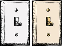 Single Light Switch. Drawing of a single wall light switch at an angle Royalty Free Stock Photos