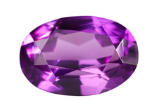 Single lilac amethyst isolated on white Stock Photos