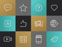 Single Line Blogging Pictograms Set Stock Photography