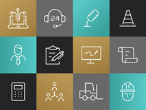 Single Line Business Pictograms Set Royalty Free Stock Photography