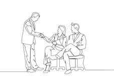 Single line draw of manager meeting and handshaking team member stock illustration