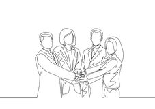 One line draw of businessmen and business women handshaking each other. Great teamwork commitment royalty free stock image